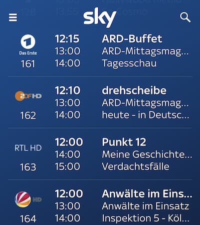 Sky Neue Programme