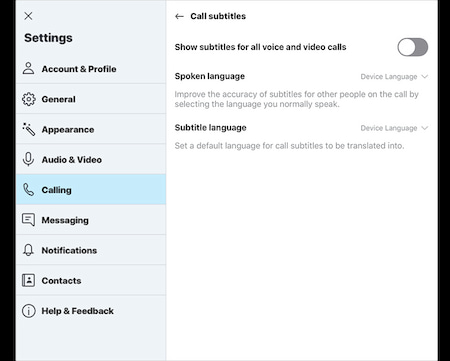 "Das neue Skype-Feature ""live captions & subtitles"""